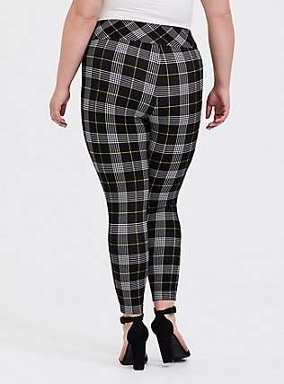 Plus Size Studio Ponte Slim Fix Pull-On Pixie Pant - Black & Yellow Plaid, PLAID - YELLOW, alternate
