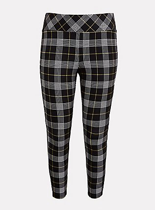 Plus Size Studio Ponte Slim Fix Pull-On Pixie Pant - Black & Yellow Plaid, PLAID - YELLOW, flat