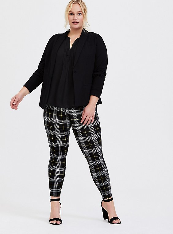 Studio Ponte Slim Fix Pull-On Pixie Pant - Black & Yellow Plaid, , hi-res