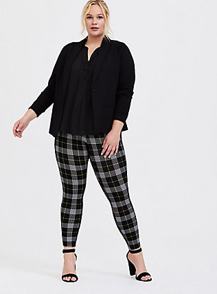 Plus Size Studio Ponte Slim Fix Pull-On Pixie Pant - Black & Yellow Plaid, PLAID - YELLOW, hi-res