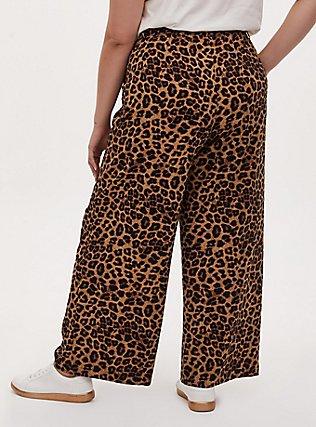 Plus Size Wide Leg Tie Front Crepe Pant - Leopard, LEOPARD, alternate