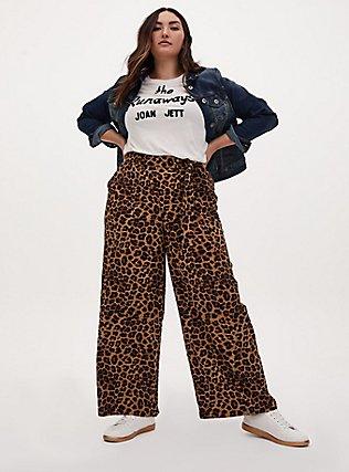 Wide Leg Tie Front Crepe Pant - Leopard, LEOPARD, alternate
