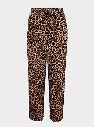 Plus Size Wide Leg Tie Front Crepe Pant - Leopard, LEOPARD, flat
