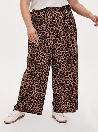 Plus Size Wide Leg Tie Front Crepe Pant - Leopard, LEOPARD, hi-res