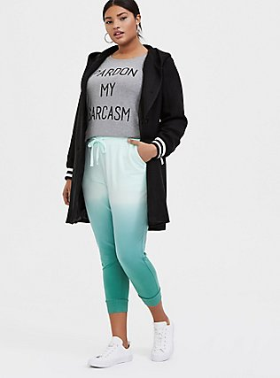 Plus Size Mint Green Ombre French Terry Drawstring Jogger, MULTI TIE DYE, alternate
