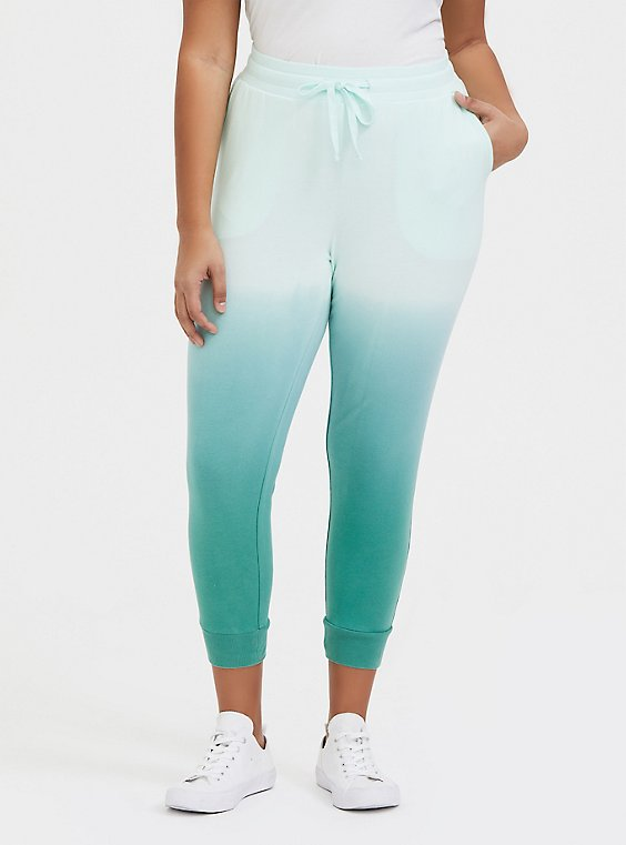 Mint Green Ombre French Terry Drawstring Jogger, , hi-res