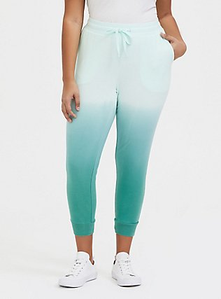 Plus Size Mint Green Ombre French Terry Drawstring Jogger, MULTI TIE DYE, hi-res