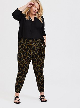 Plus Size Black Chain Print Crepe Tie Front Tapered Pant, MULTI, alternate