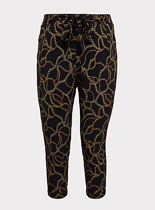 Plus Size Black Chain Print Crepe Tie Front Tapered Pant, MULTI, flat