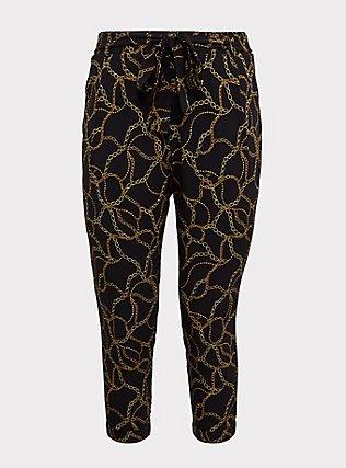 Black Chain Print Crepe Self Tie Tapered Pant, MULTI, flat