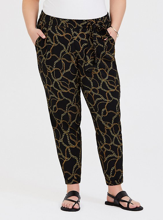 Black Chain Print Crepe Self Tie Tapered Pant, , hi-res