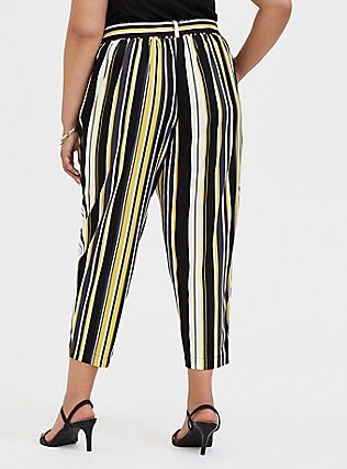 Plus Size Yellow Stripe Stretch Challis Tie-Front Tapered Pant, STRIPES, alternate