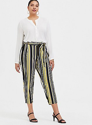 Yellow Stripe Stretch Challis Self Tie Tapered Pant, STRIPES, alternate