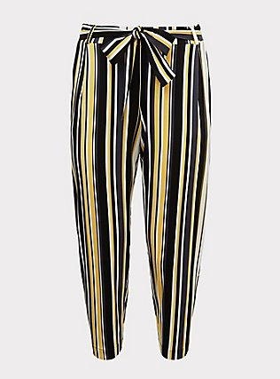 Plus Size Yellow Stripe Stretch Challis Tie-Front Tapered Pant, STRIPES, flat