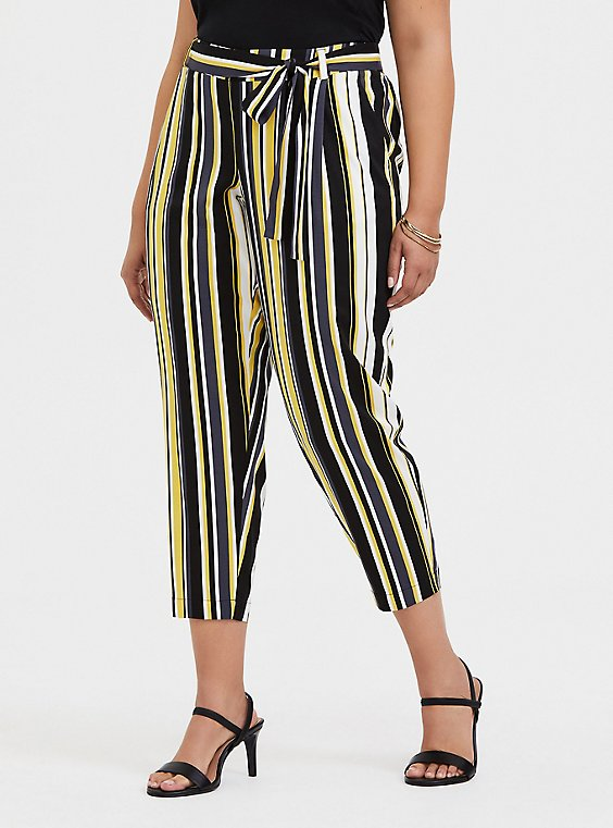 Yellow Stripe Stretch Challis Self Tie Tapered Pant, , hi-res