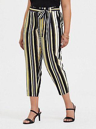 Plus Size Yellow Stripe Stretch Challis Tie-Front Tapered Pant, STRIPES, hi-res