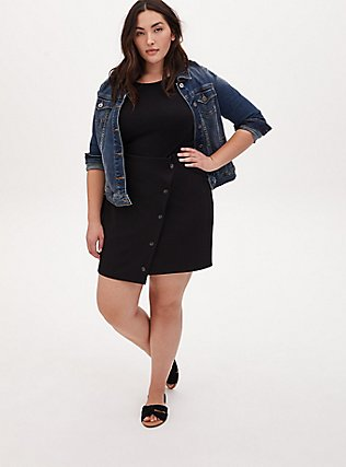 Black Crepe Scuba Knit Button Mini Skirt, DEEP BLACK, alternate