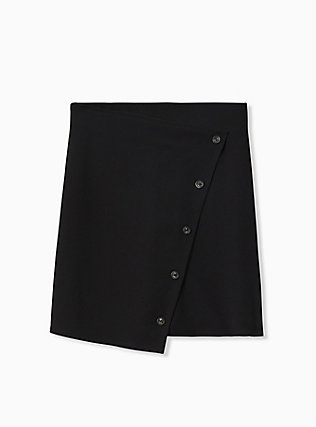 Black Crepe Scuba Knit Button Mini Skirt, DEEP BLACK, flat