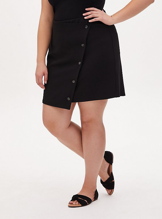 Black Crepe Scuba Knit Button Mini Skirt, , hi-res