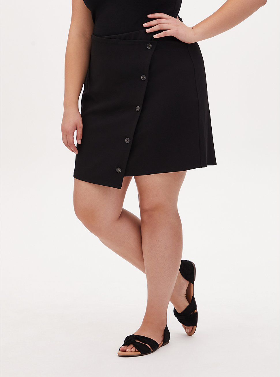 Black Crepe Scuba Knit Button Mini Skirt, DEEP BLACK, hi-res
