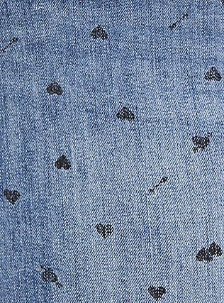 Denim Mini Skirt - Medium Wash with Heart Print, MEDIUM WASH, alternate