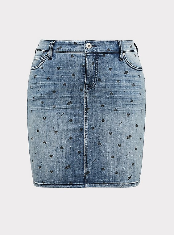 Denim Mini Skirt - Medium Wash with Heart Print, , flat
