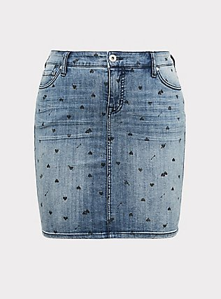 Denim Mini Skirt - Medium Wash with Heart Print, MEDIUM WASH, flat