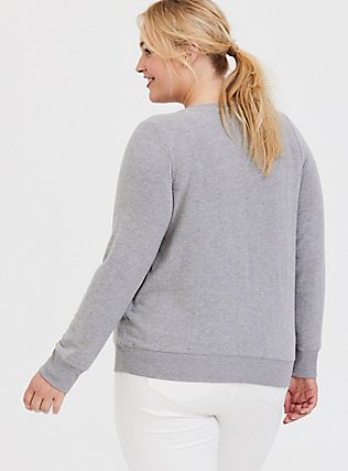 Plus Size Pardon My Sarcasm Grey Hacci Sweatshirt, MEDIUM HEATHER GREY, alternate