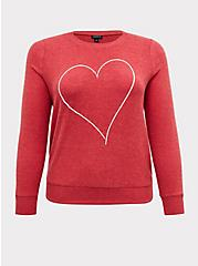 Red Heart Brushed Pullover Sweatshirt, JESTER RED, hi-res