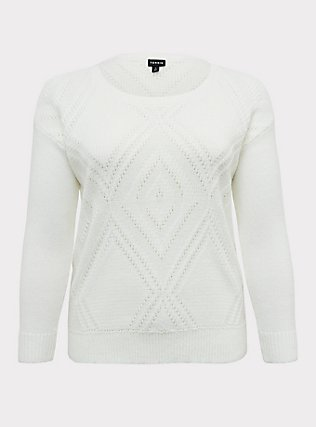 Plus Size Ivory Textured Stitch Pullover Sweater, CLOUD DANCER, flat
