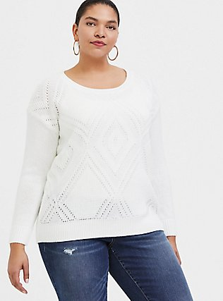 Plus Size Ivory Textured Stitch Pullover Sweater, CLOUD DANCER, hi-res