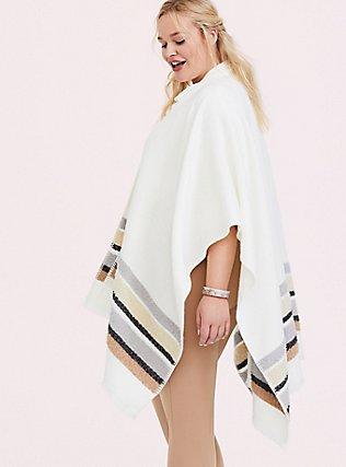 Plus Size Ivory & Multi Stripe Ruana, , alternate