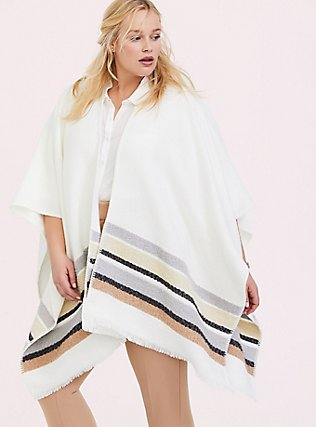 Plus Size Ivory & Multi Stripe Ruana, , hi-res