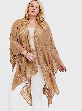 Plus Size Tan Open Knit Ruana, , alternate