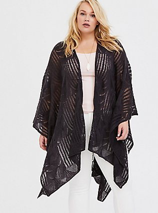 Plus Size Dark Grey Open Knit Ruana, , alternate