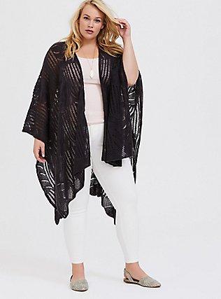 Plus Size Dark Grey Open Knit Ruana, , hi-res