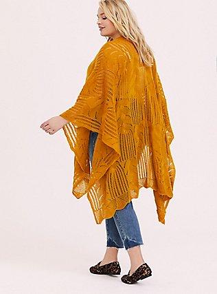 Plus Size Mustard Yellow Open Knit Ruana, , alternate