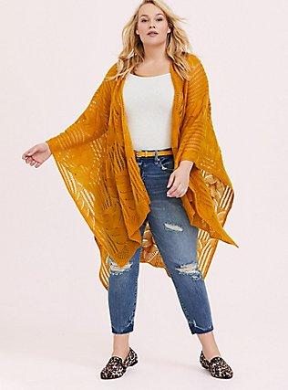 Plus Size Mustard Yellow Open Knit Ruana, , hi-res