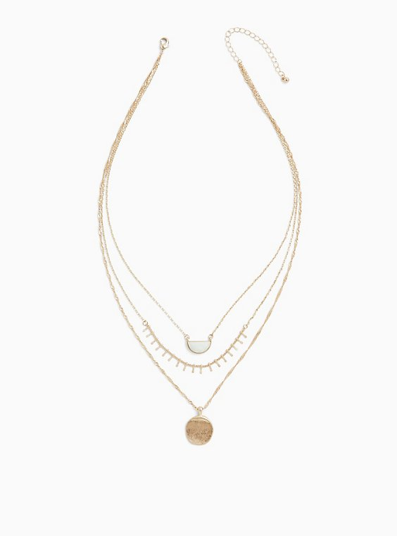 Gold-Tone Double Pendant Necklace, , hi-res