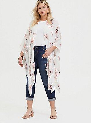Plus Size Ivory Stitched Stripe Floral Ruana, , hi-res