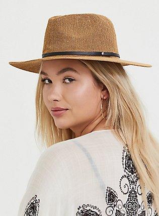 Tan Straw Hat, BROWN, alternate
