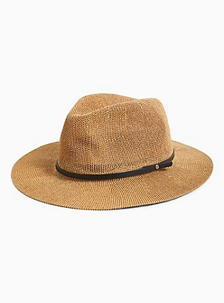 Plus Size Tan Straw Hat, BROWN, hi-res