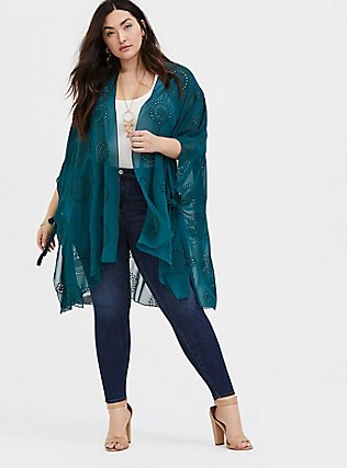 Dark Teal Eyelet Ruana, , alternate