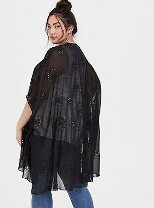 Black Eyelet Ruana, , alternate
