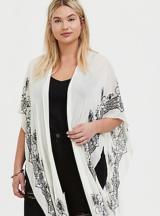 Ivory & Black Medallion Ruana, , alternate