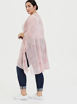 Light Pink Eyelet Ruana, , alternate
