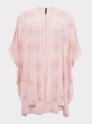 Light Pink Eyelet Ruana, , flat