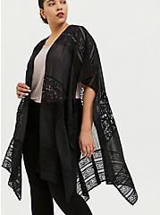 Black Lace & Gauze Ruana, , alternate