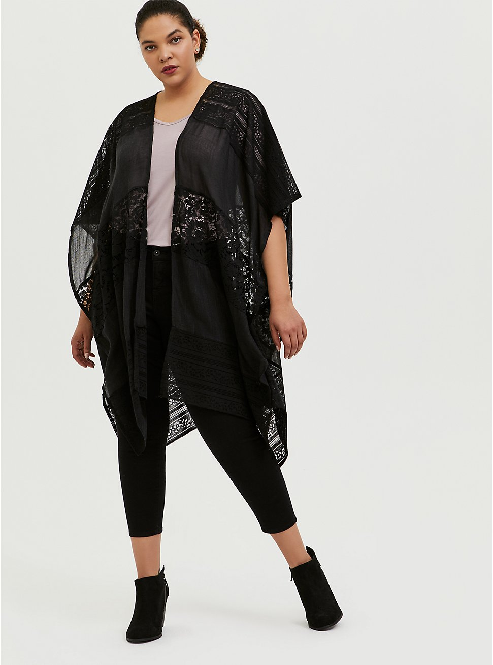 Black Lace & Gauze Ruana, , hi-res