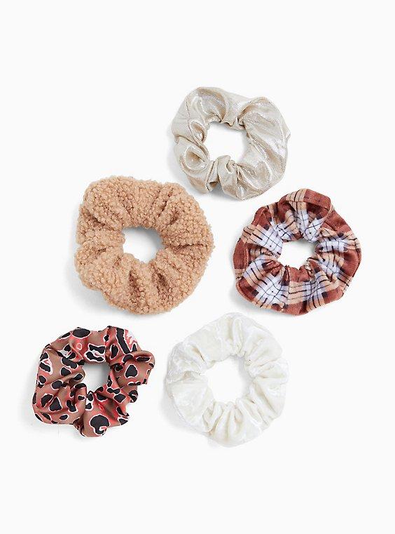 Plus Size Plaid & Fleece Hair Tie Pack - Pack of 5, , hi-res